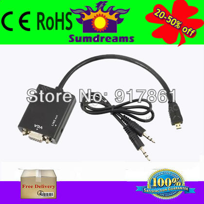 New HDMI to VGA Convertor Adapter Cable with Audio Output Black Free Shipping Male to Female(China (Mainland))