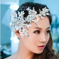 Free Shipping! 2013 New items handmade Lace Satin bride hair accessory crown tiaras wedding HG063