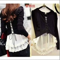 Wholesale Submissively Clothing 2013 Autumn Female Strap Lace Decoration Faux Two Piece Puff Sleeve T-Shirt