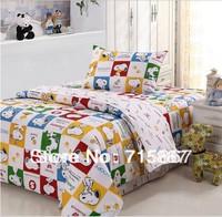 New 2014 fashion cartoon kids bedding set 100% cotton twill printed bedsheet 3pcs twin size  children duvet cover set