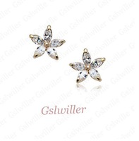 Min.order 2pcs, Free Shipping Italina rigant 18K Rose Gold Plated And Austrian Crystal Earring jewelry wholesale Gift
