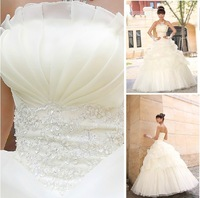 free Shipping 2013 new fashion wedding dresses Sweet wedding dress formal princess embroidered lace brief sexy tube top S M L XL