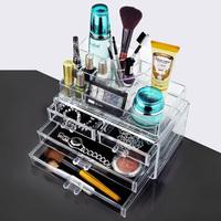 Free shipping 24x15x18.6cm Fashion Clear Acrylic Crystal Cosmetic Organizer Makeup Case Holder Storage Box Gift Box
