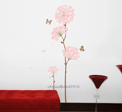 003 Cherry Blossom Butterfly Tree Wall Stickers Art Decal Home Wall Sticker Mural 90cmX60cm(China (Mainland))