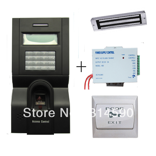 Free Shipping!!! Fingerprint Access Control System Kit With Magnetic Door Lock and Power Supply, PC Exit Button(China (Mainland))