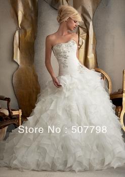 2013 Free Shipping Custom Made Ball Gown Strapless Brush Beaded Ruffles Corset Back Organza Wedding Dress