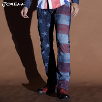 Joneaa True Brand Jeans Original  Jeans USA Flag  Decorated Washed blue Denim Men Jeans Low rise Hiphop Jeans Fashion Skinny
