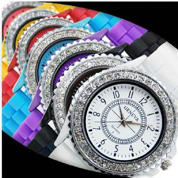 Fashion geneva silica gel jelly watch screen printing watch unisex table digital watch with crystal dial