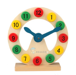 Wooden infant boy baby digital shape clock building blocks clock toy hollow clock(China (Mainland))