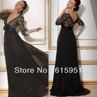 Sexy black lace long sleeve v-neck mother of the bride dresses gowns chiffon patterns JY476(China (Mainland))