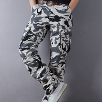 White snow Camouflage pants casual pants male loose overalls trousers straight pants thin