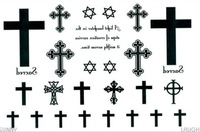 2012 latest new design new release Temporary tattoos waterproof cross hexagram fake tattoo