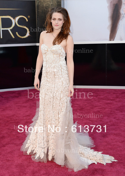 Evening Long A-line Lace Sexy sweetheart Kristen Stewart 2013 Oscars 85th Academy Awards Celebrity Red Carpet Dresses(China (Mainland))