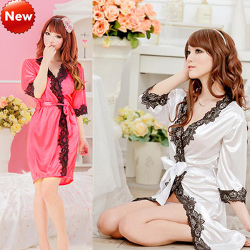 Sexy Lingerie New Silk Robe Lace Rim Dress+G String Set Sexy Sleepwear, Sexy Dress S002