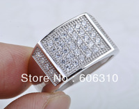 BJ16 Wholesale Ring Jewelry 1PC Hot selling Fashion 925 Silver Micro pave CZ Ring, Size 8, 9, 10