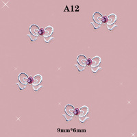 3D Nail Art Alloy Rhinestones Bow Red Beads Shining Stickers For DIY Decoration #A12
