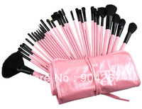 Pro 32 Pcs Pink Makeup Brush Cosmetic Set Eyeshadow Powder Brush Brushes Case Free Shipping