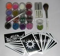 free shipping 17 Colors Glitter Powder Dust+10 Stencils Temporary Tattoo Body Art Set DIY