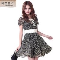 2013 summer chiffon one-piece dress o-neck polka dot print mid waist short-sleeve dress