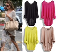 Fashion Batwing Womens Ladies Casual Loose Asymmetric Knit Coat Top Pullover  Sweater