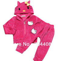 Free shipping KITTY Top quality 100% Cotton Velvet Baby girls clothing set Hoodie+pants 4set/lot