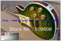 Wholesale Deep Green flame maple storm 3 Pickups Electric Guitar with Ace Signature Electric Guitar free shipping