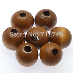 Beads,Painted wooden beads , 10mm round wooden beads , coffee , sold of 200 pcs(Min Order $20)(China (Mainland))
