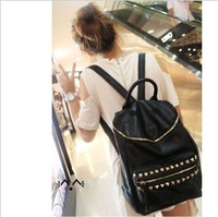 2013 rivet backpack women's handbag fashion casual bag preppy style student bag sports bag