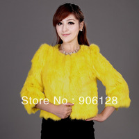 2013 chromophous slim short design high quality rabbit fur coat