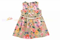 Children's clothing 2013 spring female child baby z flower tank dress one-piece dress belt