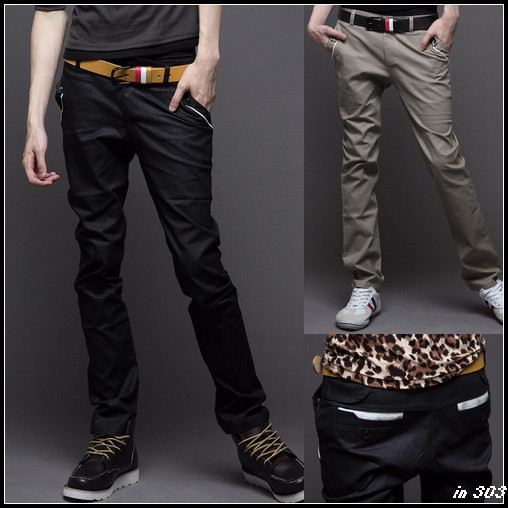 Male trousers skinny pants color block fashion male casual pants 2012 spring trousers male trousers(China (Mainland))