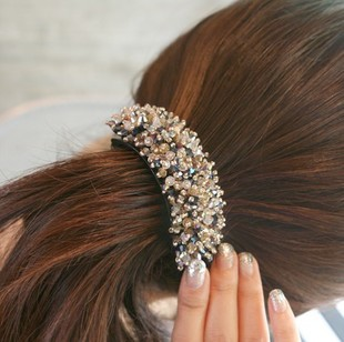 Pl231 Women's Hair Jewelry Hair Accessory Crystal Rhinestone Beaded Hair Clips Twist Clip Clip Horsetail Clip Free Shipping