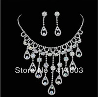 2014 Holiday Sale-Free Shipping Wegirl  Silver Rhinestone Wedding Jewelry sets Top Bridal Jewelry Accessories Supplier-2T173