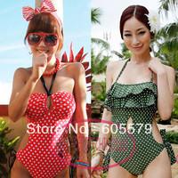 Vintage Ruffle Keyhole Polka Dot One Piece Monokini Swimsuit Bathing Suit