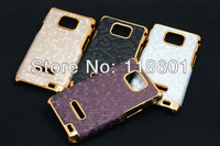 wholesale 50pcs/lot New Fashion Noble Luxury Golden Honeycomb Grid Hard Back Cover Skin Case For Samsung Galaxy S2 II i9100