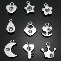 Hot ! DIY Tiny Charms With Crystal Series, Heart, Flower, Star, Moon, Handbag, Key, Crwon Charms (CP10002)(China (Mainland))