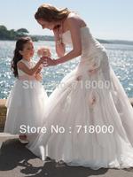 2014  New fashionable white / ivory custom made wedding dress / discount customize size any size 6 8 10 12 14 16 free shipping