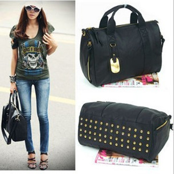 Factory Outlet female bag 2012 new rivet package travel bags handbag Messenger bag wholesale 1075