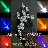 free shipping 200x Pre wired 3mm Bright Warm White LEDs Bulb 20cm Prewired 12V LED Lamp