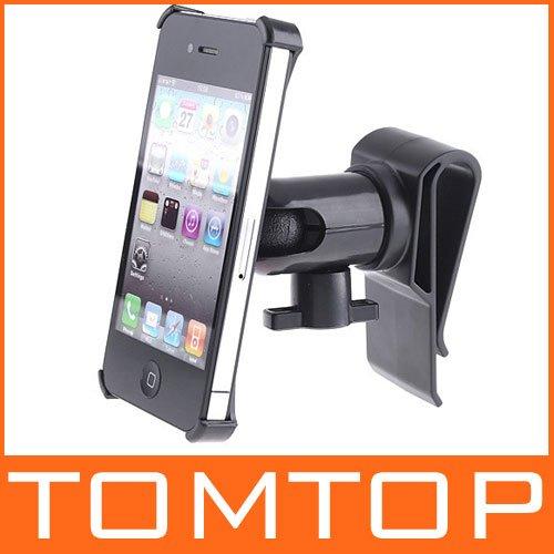 Mutifunctional 360 Degrees Rotation Car Clip Mount Holder Stand for iPhone 4, Free Shipping + Wholesale(China (Mainland))