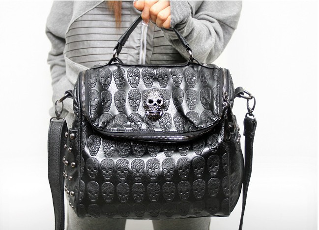FREE SHIPPING, Grace Karin Korean Women PU Leather Skull Print Shoulder rivet bag, punk skull handbag, tote bags(China (Mainland))