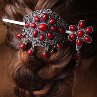 Coral red beaded tibet silver bun ponytail pin stick barrette hair slide clip