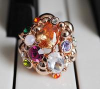 Accessories broken gem flower Women gold plated ring finger ring