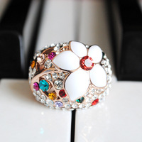 Accessories multicolour rhinestone gentlewomen white small flower Women gold plated ring finger ring