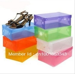 Free shipping shoes box CLEAR plasic storage box for SHOES (Random Send Colors) 20pieces/lot(China (Mainland))