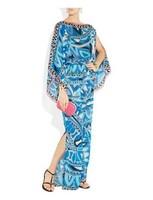 Europe High Street Fashion Women's Blue Geometric Print Off Shoulder Stretch Jersey Silk Maxi Full Dress Plus Size DressXXL