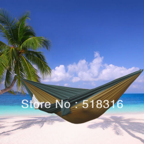 Freeshipping 1pc parachute cloth double hammock tourism camping hammock survival outdoor or indoor 270*140cm(China (Mainland))