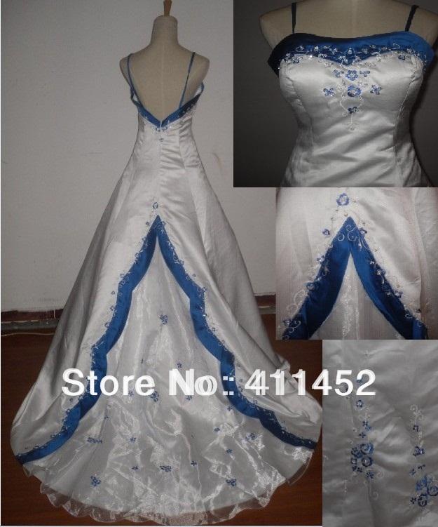 White Wedding Dress With Blue Trim Royal Flower