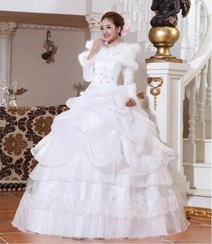 Winter plus cotton long-sleeve wool stand collar winter wedding dress thermal sweet wedding dress formal dress hs225