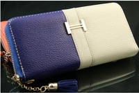 "Multicolor Decoration ""H"" Buckle Wallet Women's Clutch Single Pull Package Zipper Bag Clutch Soft Wallet Free shippig"